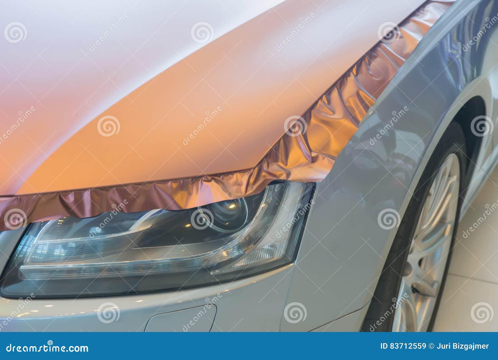 Pasting Of Car Carbonic Plastic Stock Photo
