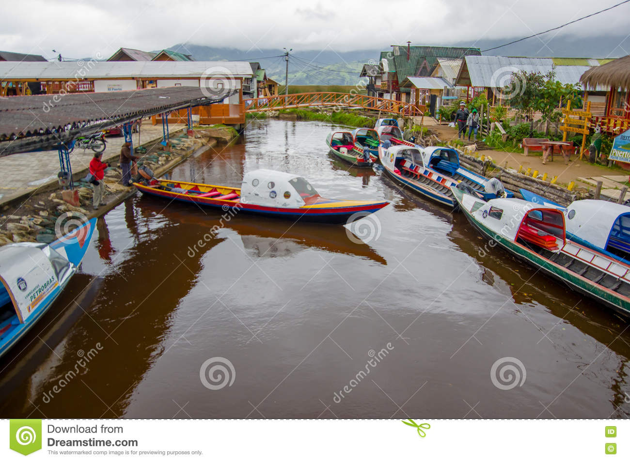 PASTO, COLOMBIA - JULY 3, 2016: some boats parked in the port of a small location in la cocha lake