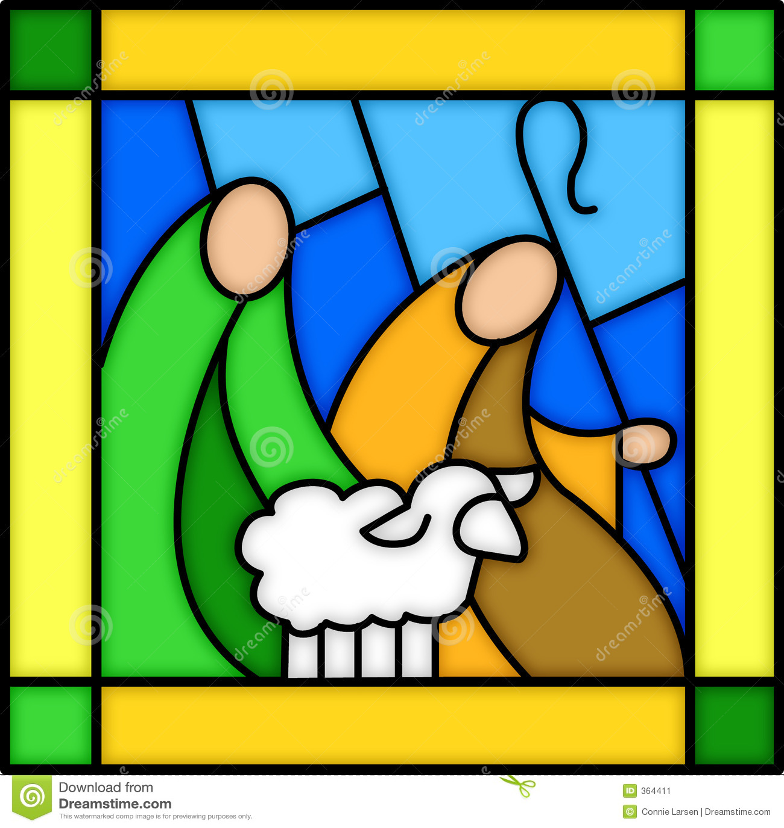 Pastores no vidro manchado