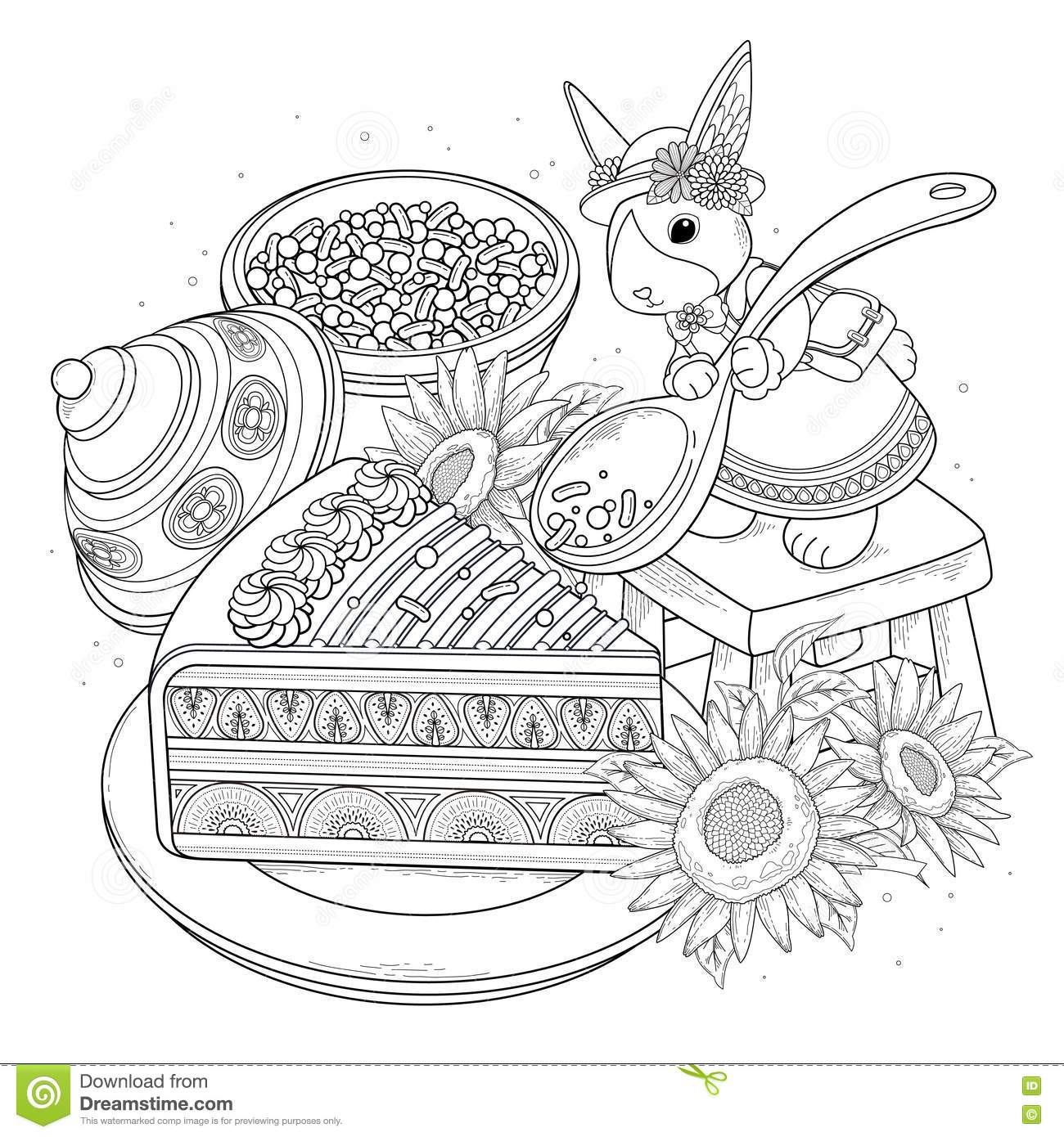 Pastries adult coloring page delicious snacks page for coloring elegant rabbit adding sugar on the cake