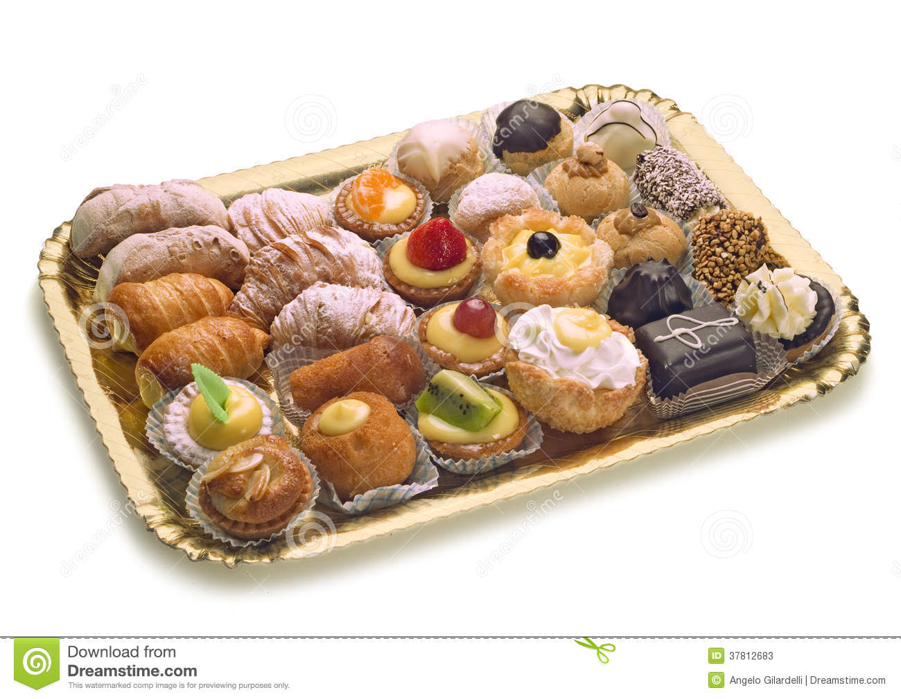 Pastries On Golden Tray Stock Photos Image 37812683