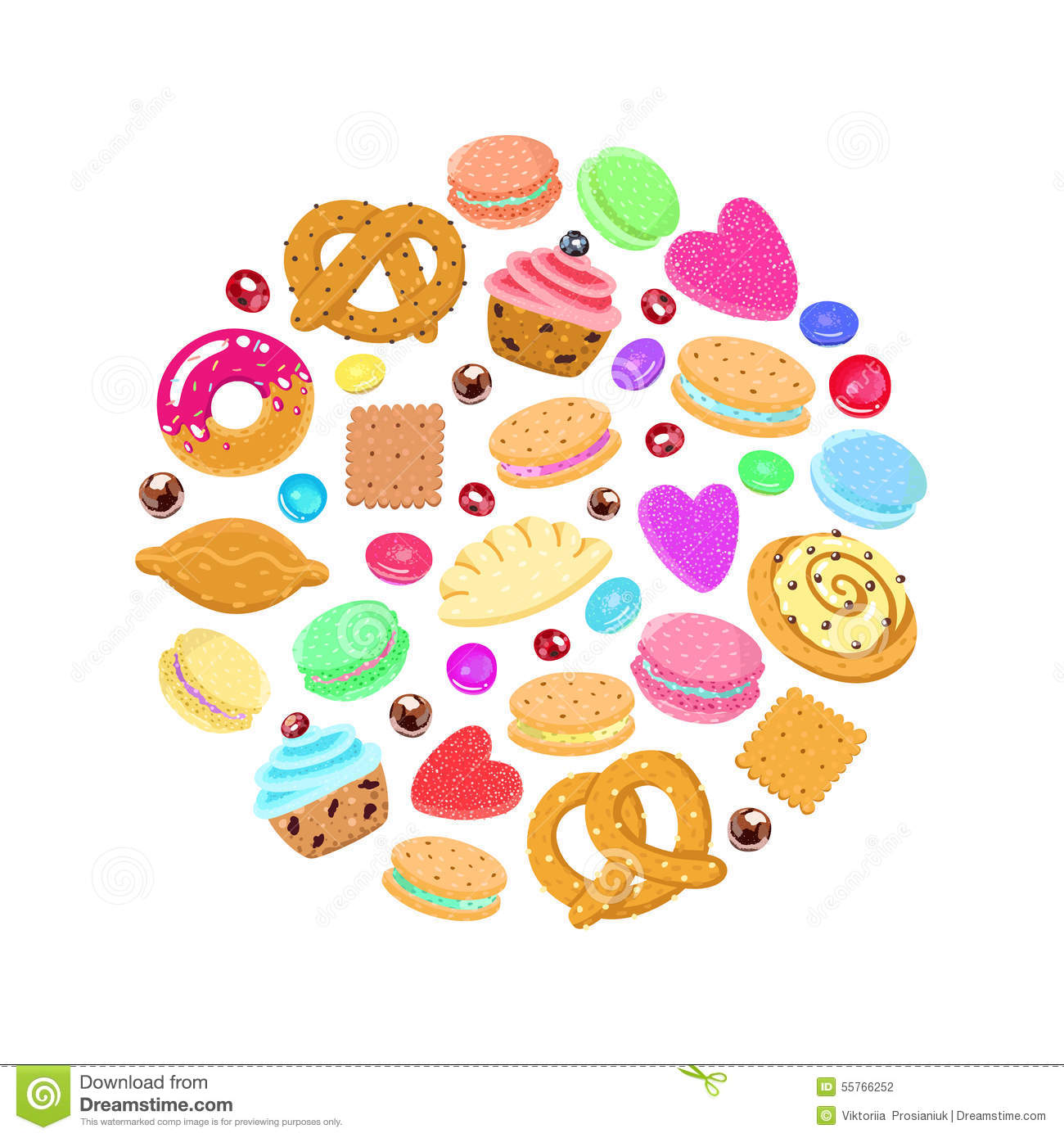 Pastries Sweets And Candies Vector Circle Background