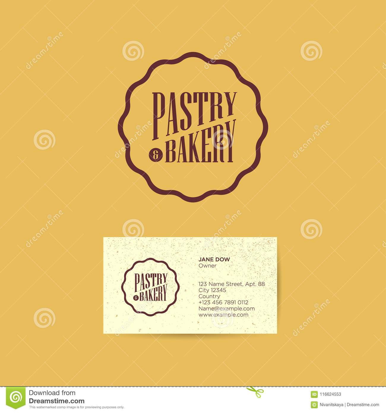 Pastry and bakery logo logo for bakery and cafe label from sweet pastry and cakes brown emblem vintage style