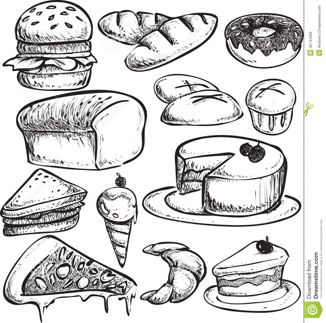 bread doodle pastry bread doodle stock vector image 42744066 5772