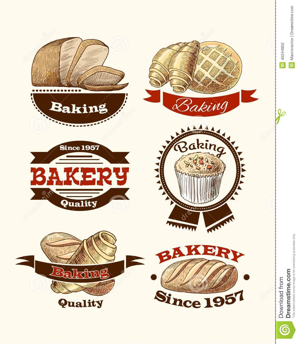 Pastry And Bread Labels Stock Vector Illustration Of