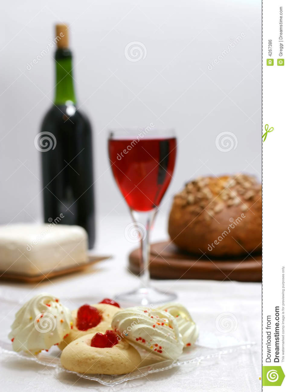 Pastry Cake Wine And Bread Stock Photo Image Of