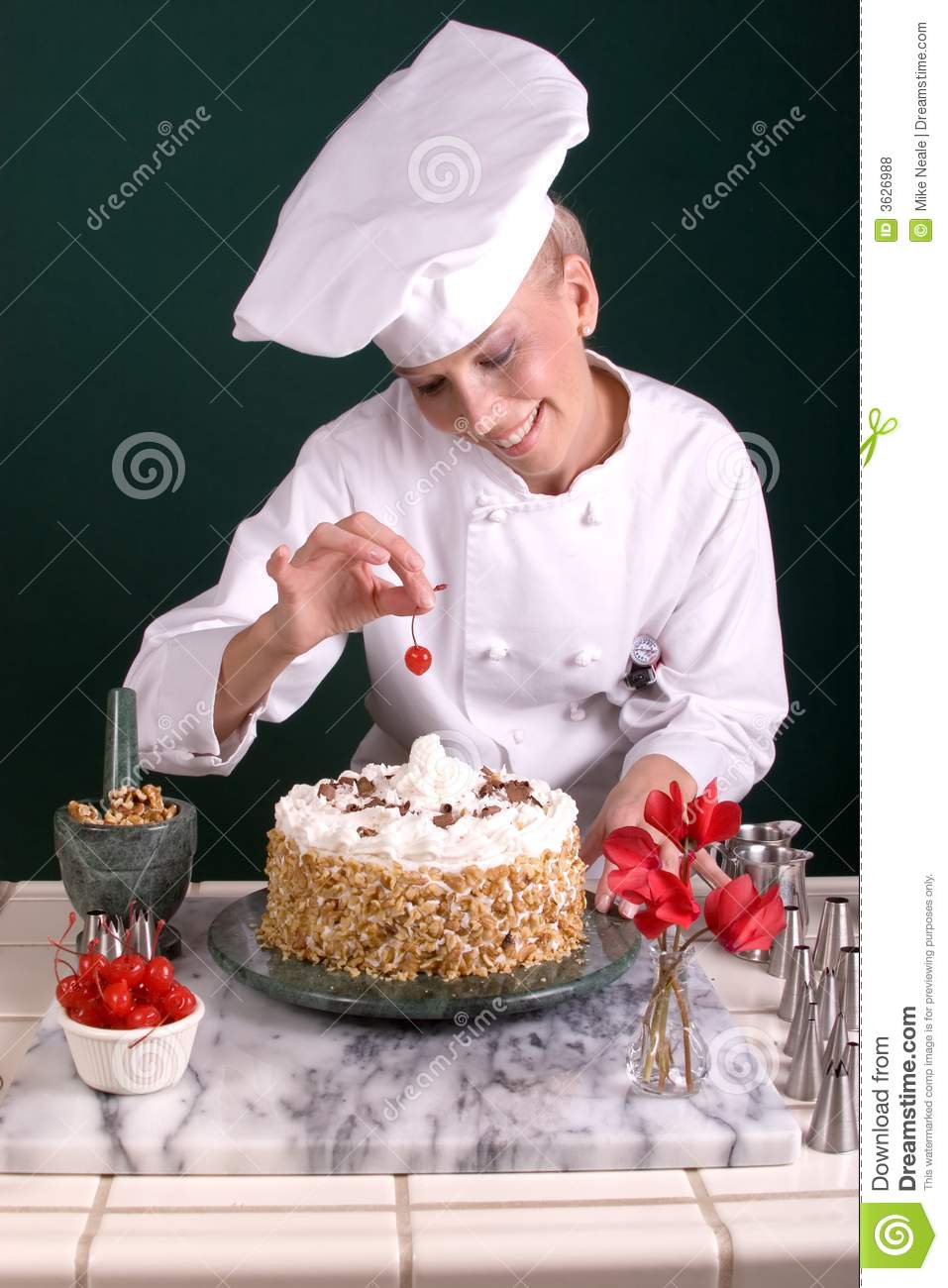 Pastry Chef Spotting Cherry Stock Photo Image Of Dessert