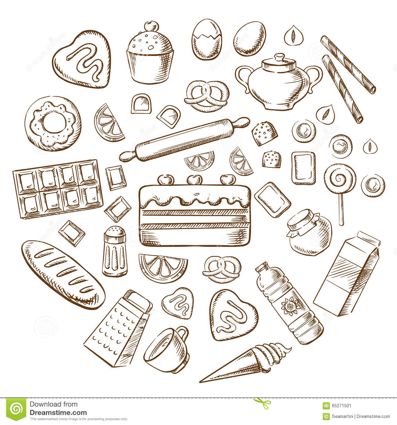 Kitchen Layout Plans Pastry Dessert And Bakery Sketch Icons Stock Vector