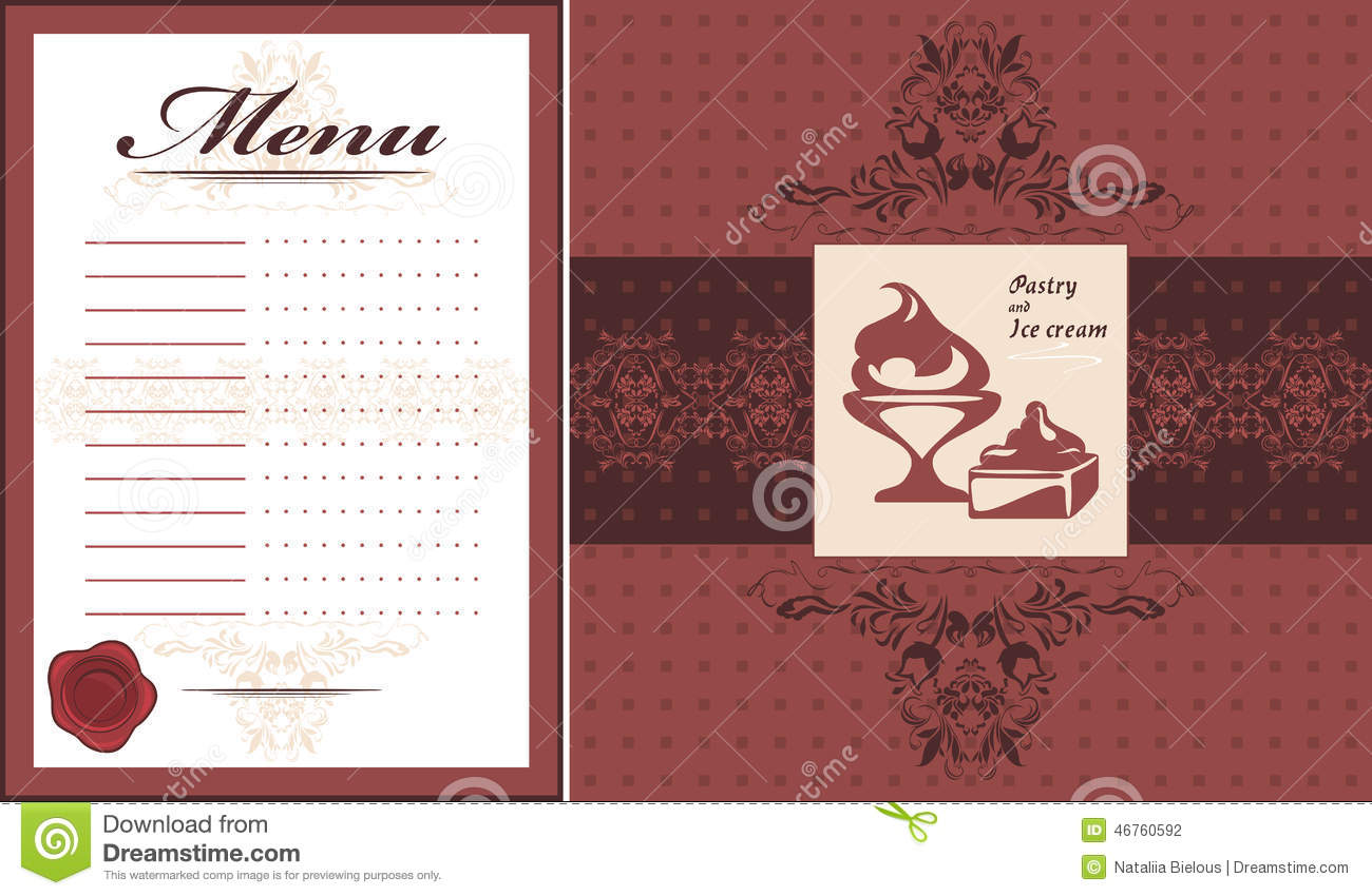 pastry and ice cream menu card template and label for design stock