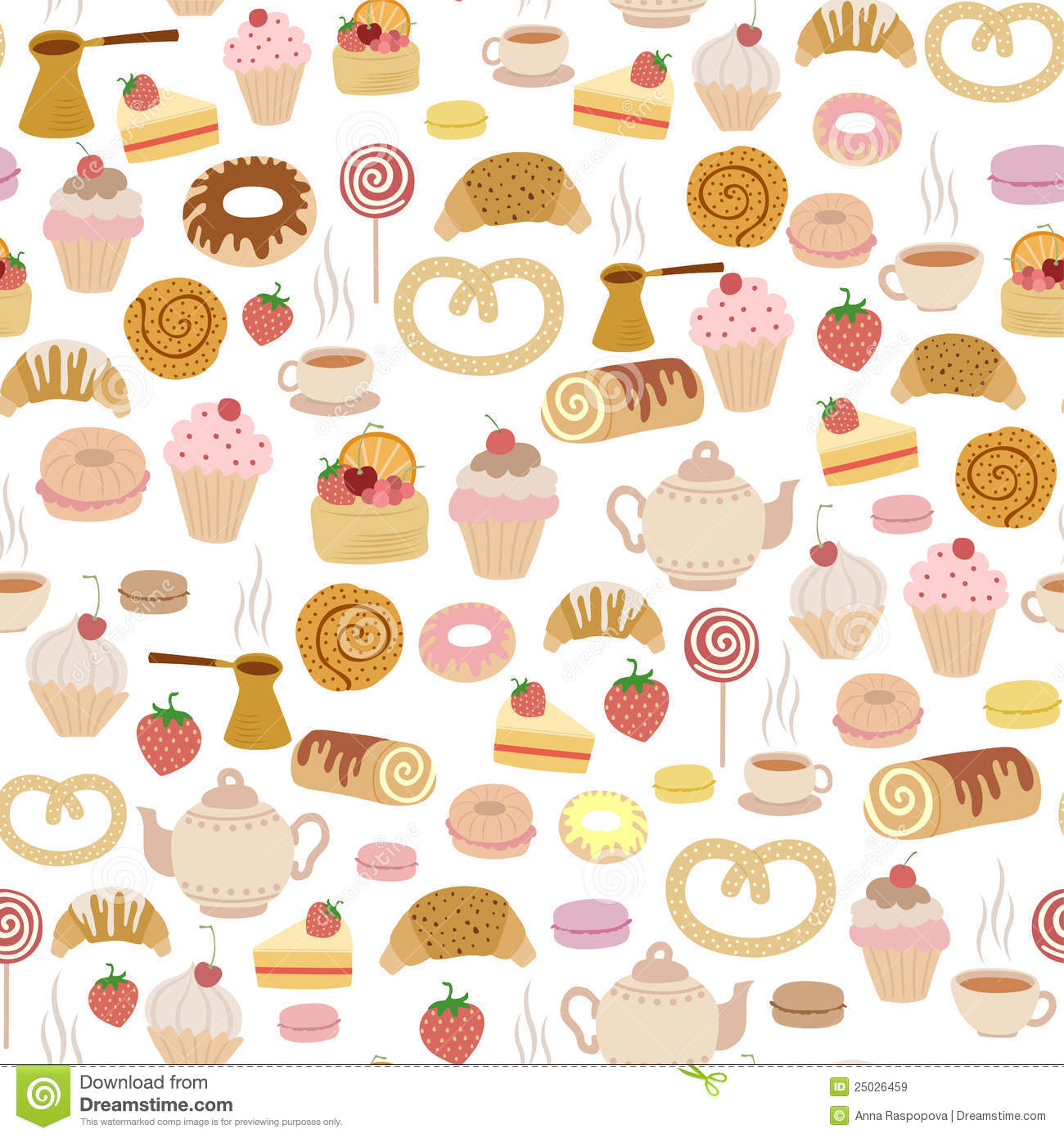 Pastry Pattern Stock Vector Illustration Of Cake Dessert 25026459