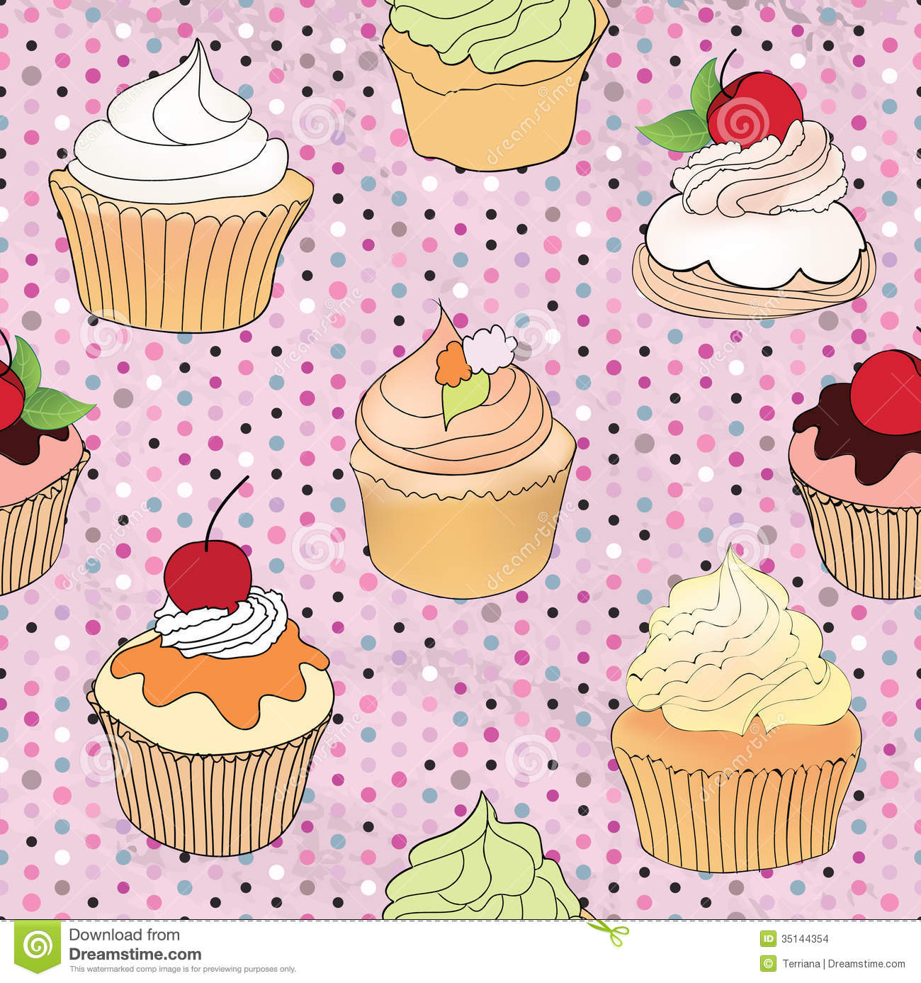 Pastry Seamless Wallpaper Muffin Over Polka Dot Seamless