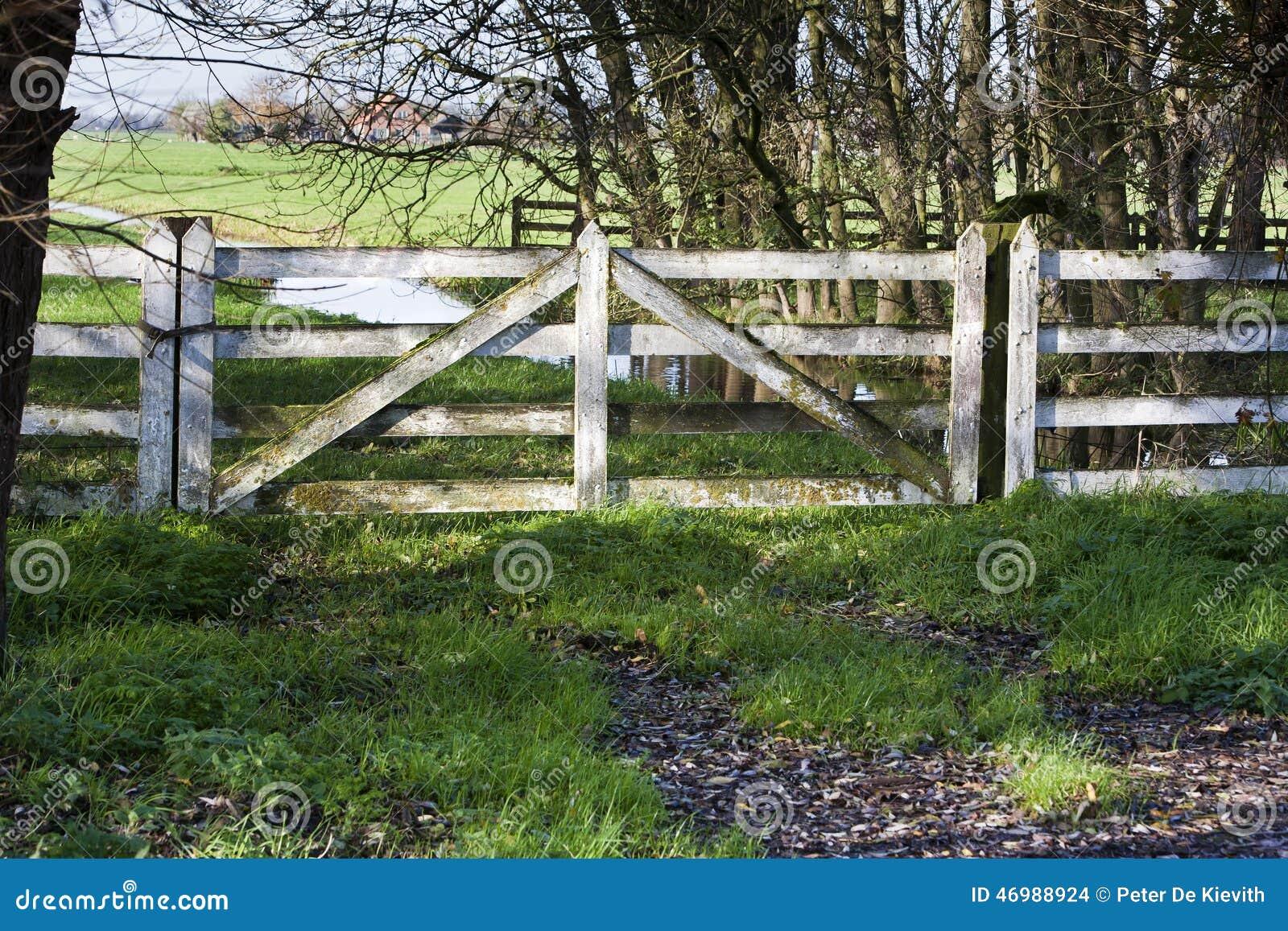 Pasture Fence Gate Stock Photo - Image: 46988924