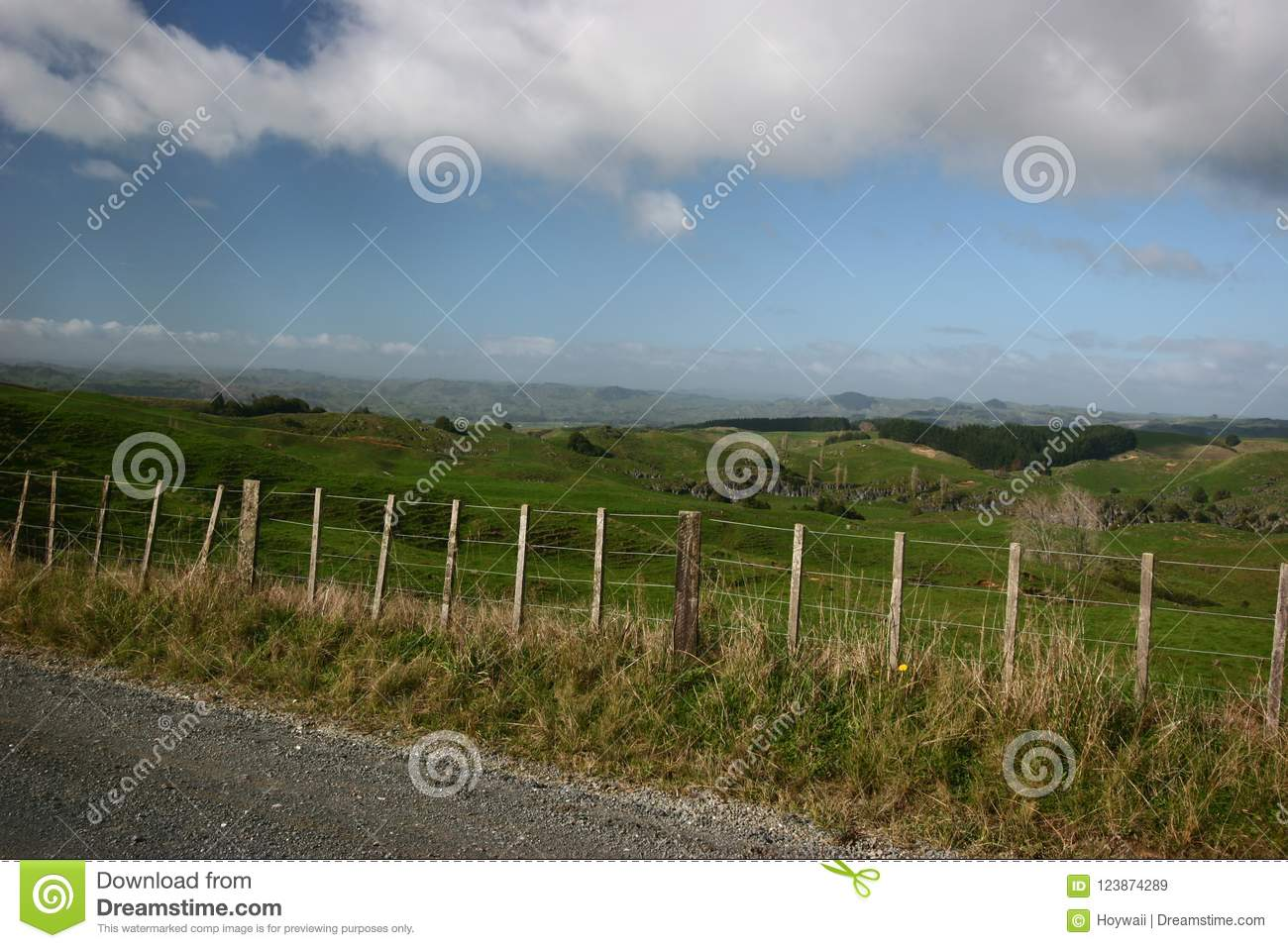 Fenced Off Grazing Flat Land Along A Dirt Road Stock Image - Image ...