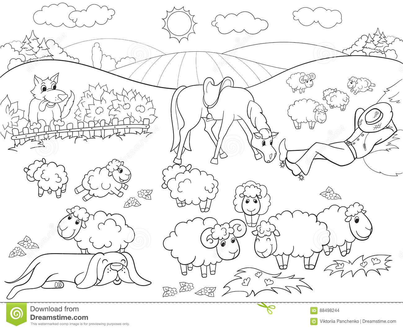 sheep and dogs coloring pages - photo#17