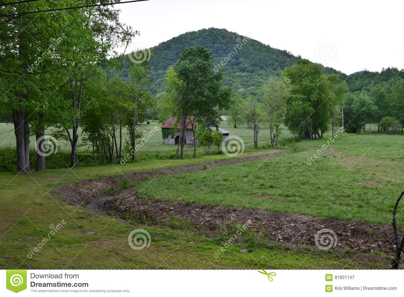 Pasture view with barn and mountain