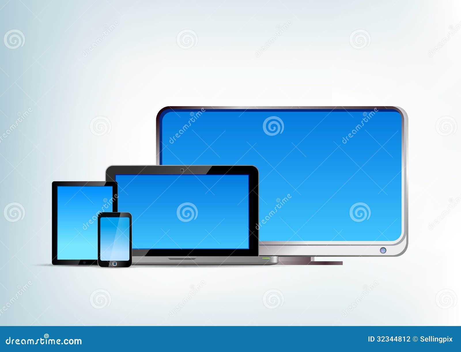 Pastylka komputer osobisty z laptopem, smartphone, tv wektoru przód