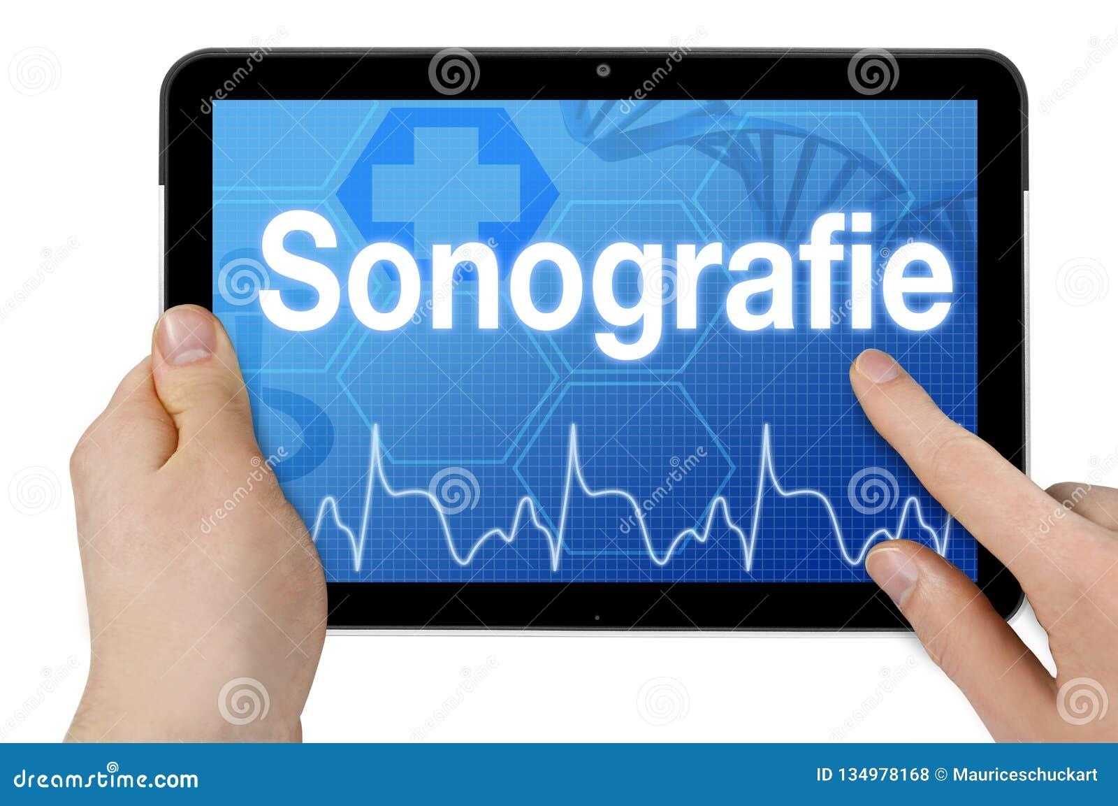Pastylka komputer z niemieckim słowem dla sonography - Sonografie