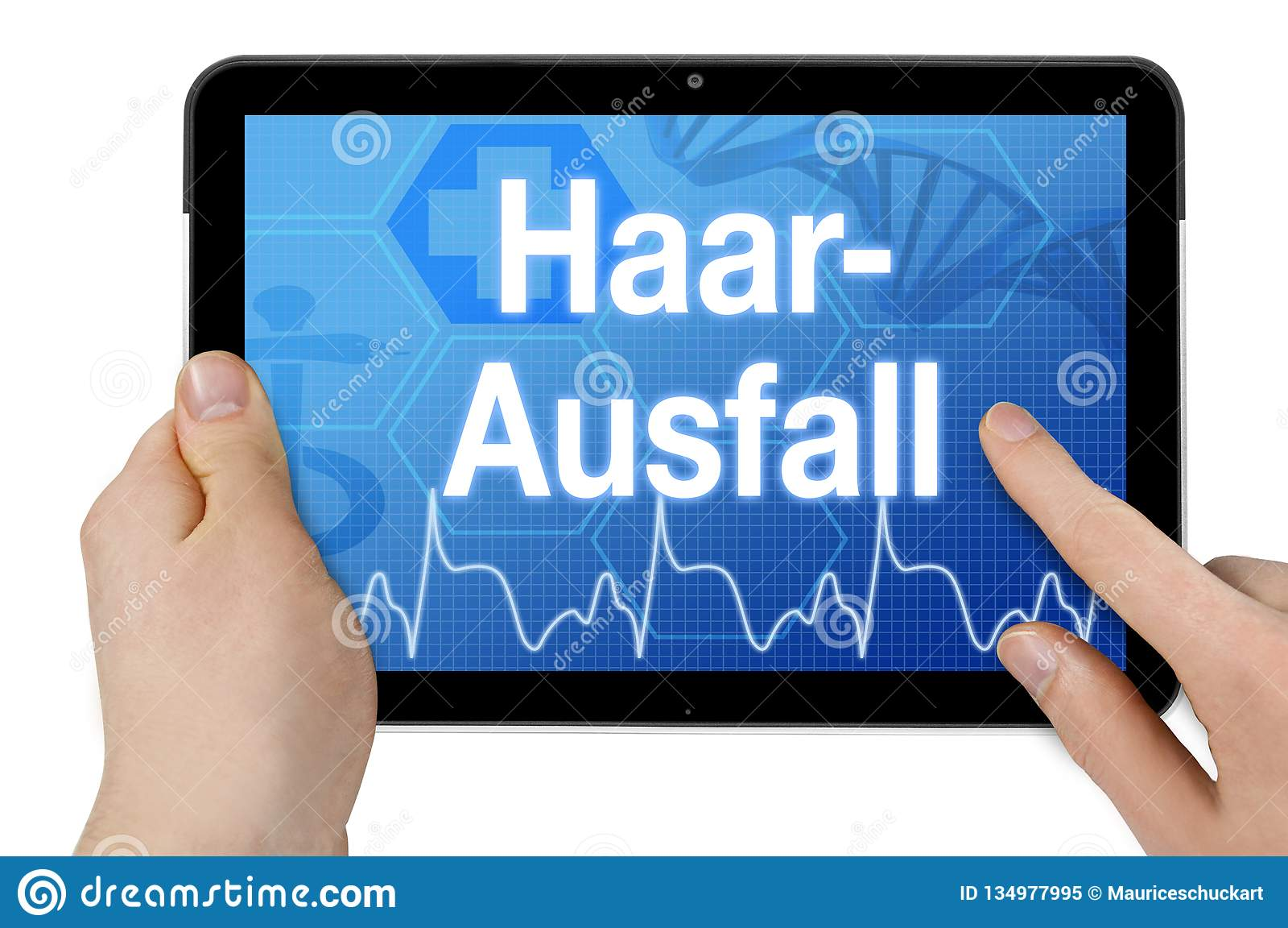 Pastylka komputer z niemieckim słowem dla włosianej straty - Haarausfall