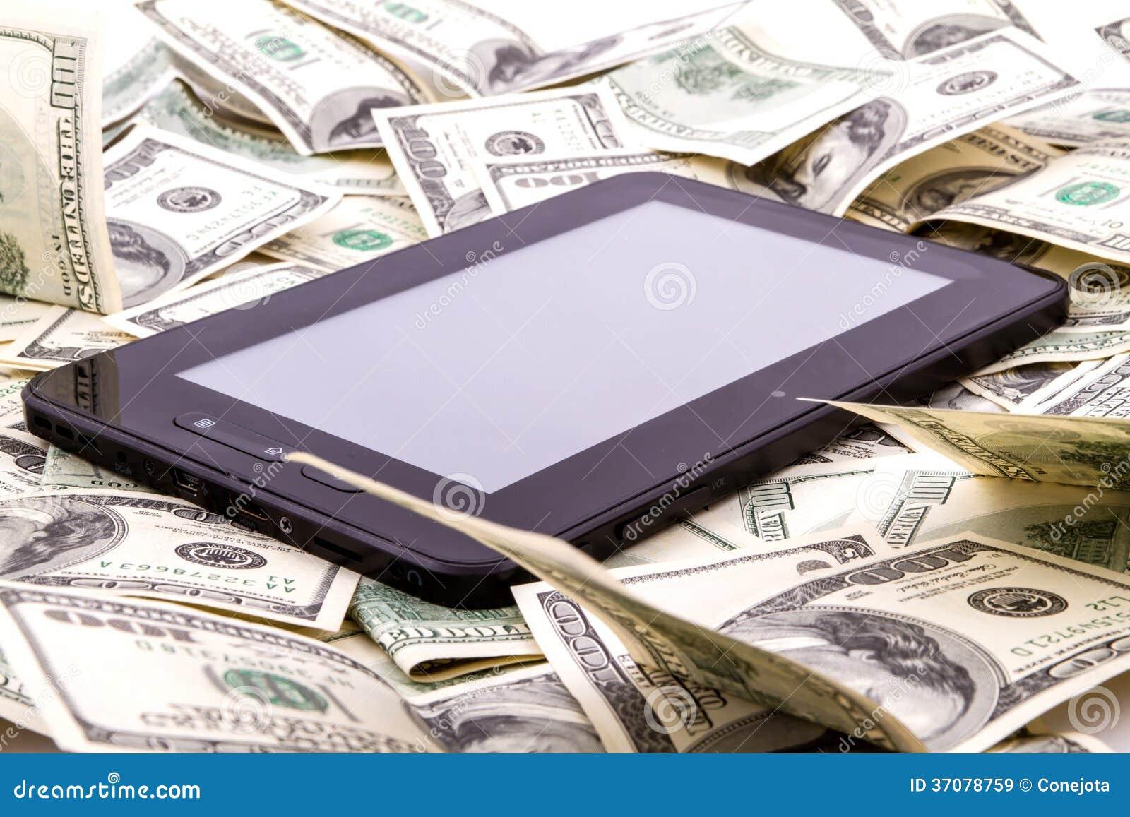 Download Pastylka Pecet Nad Dolarami Obraz Stock - Obraz złożonej z laptop, inwestycja: 37078759