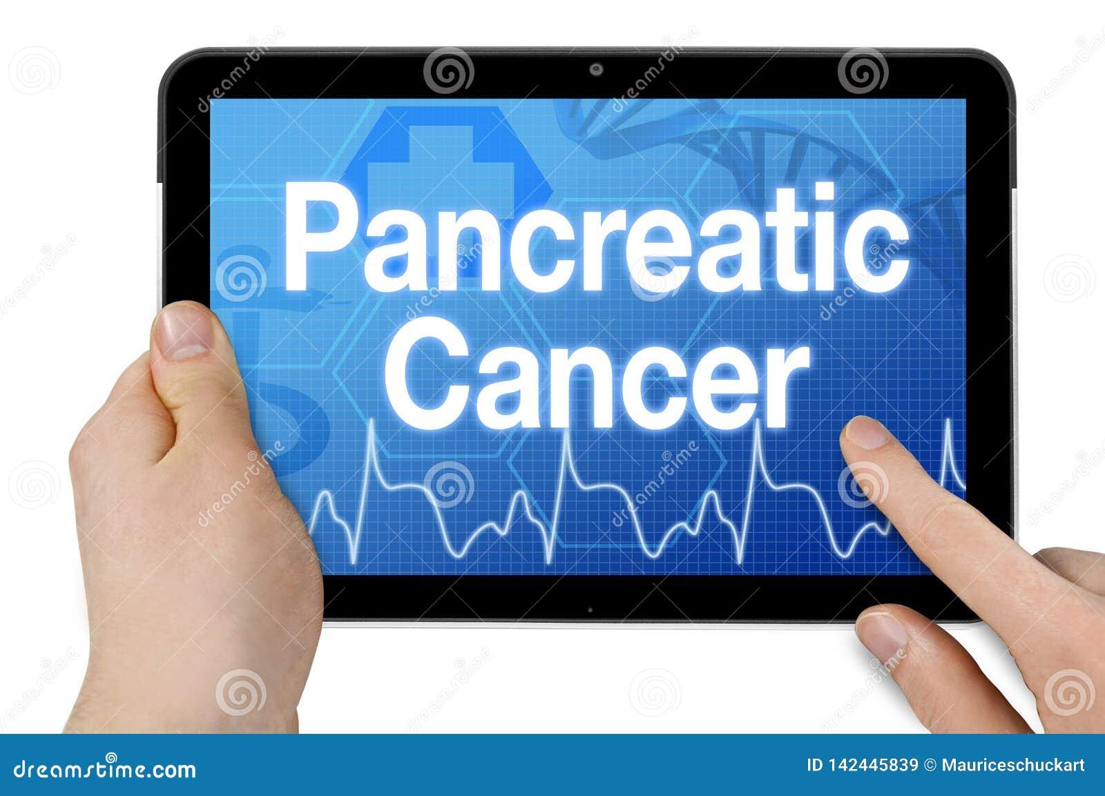 Pastylka z ekranu sensorowego i diagnozy trzustkowym nowotworem