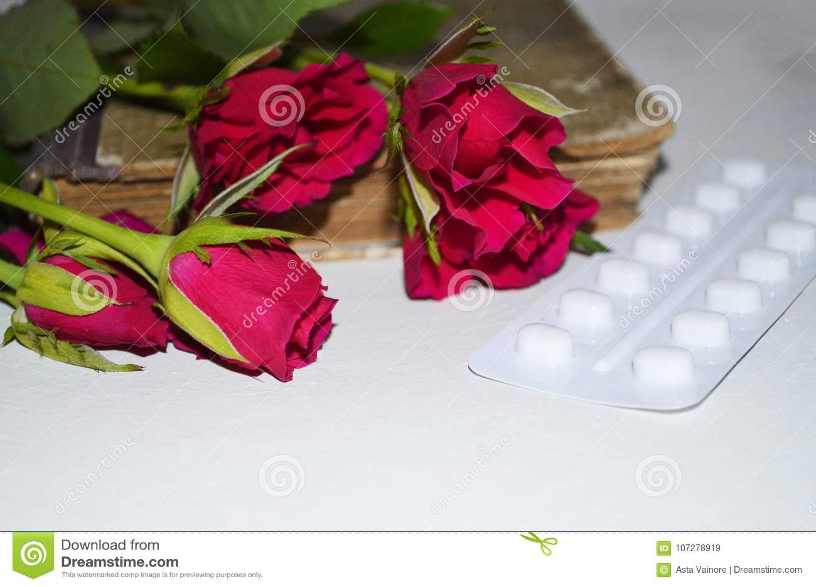 Pastylki z róża kwiatami