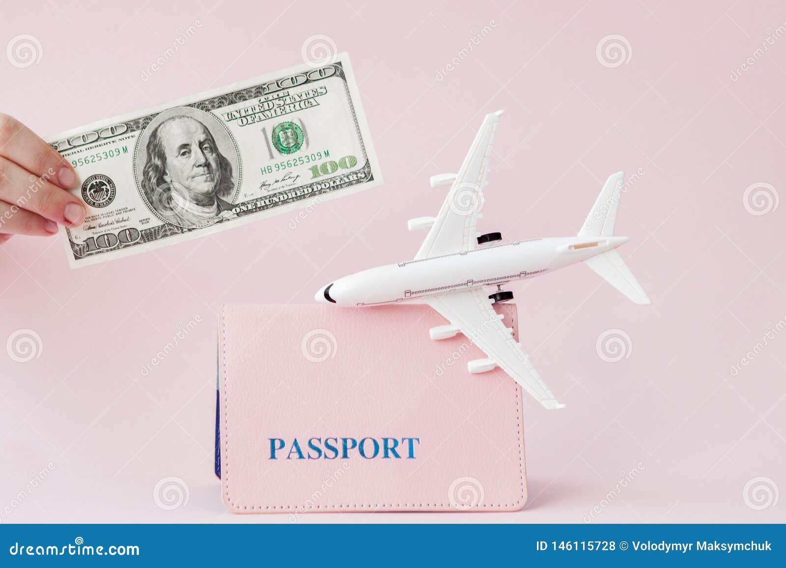 Paszport, dolary i samolot na różowym tle, Podr??y poj?cie, kopii przestrze?