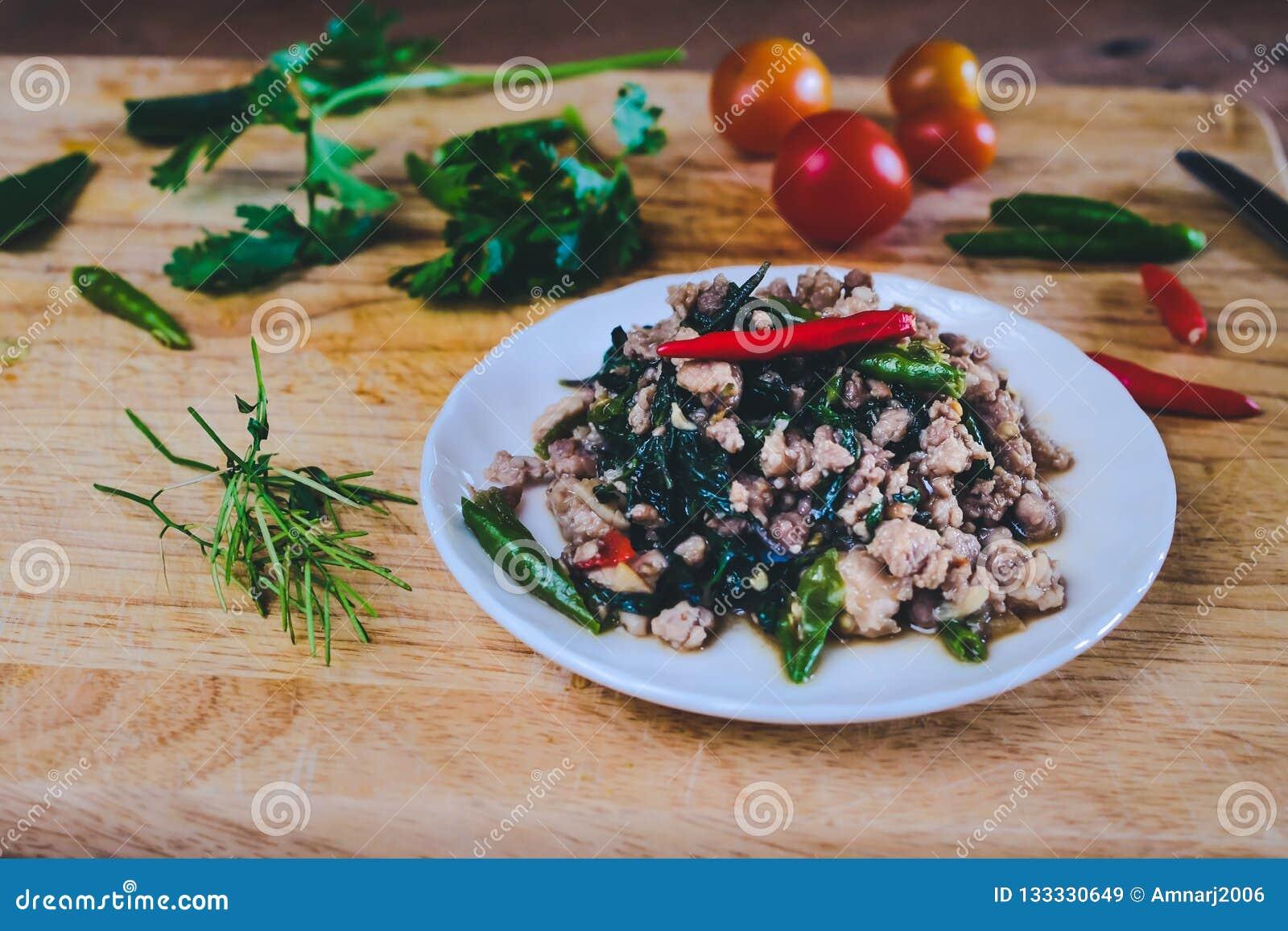 Pat-Ka-Praw-Moo Thai Street Food Hot And Spicy Pork Chop