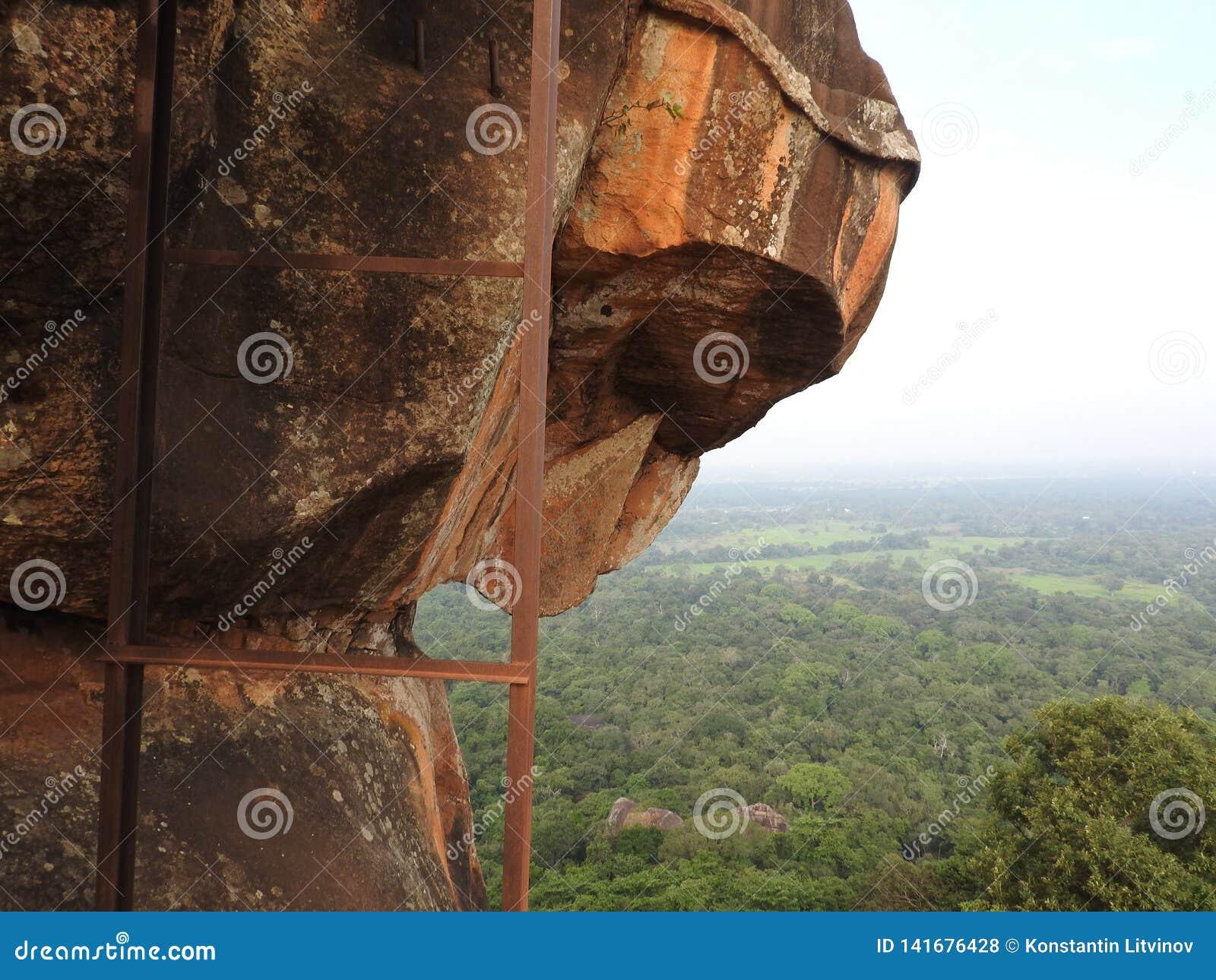 Pata de piedra del león y otros elementos encima de la roca del león, Sigiriya, Sri Lanka, sitio del patrimonio mundial de la UNE