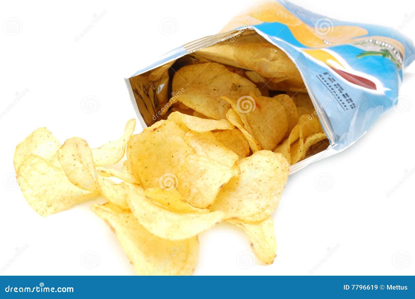 Patata frito adentro el paquete