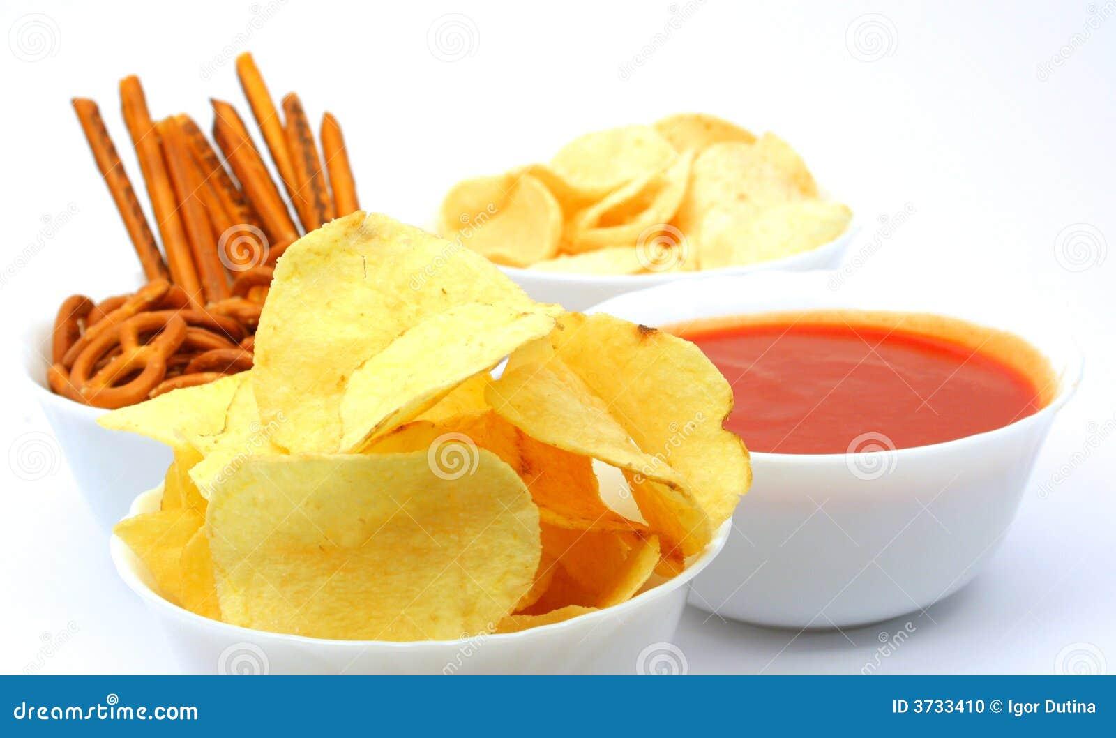 Patatas fritas, bocados e inmersión