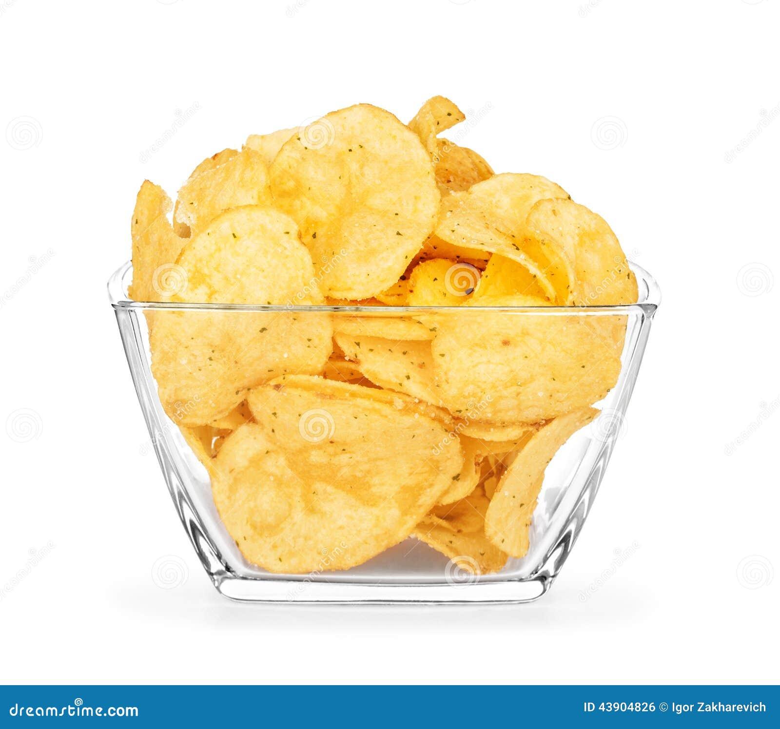 Patatas fritas en un bol de vidrio foto de archivo - Bol de vidrio ...