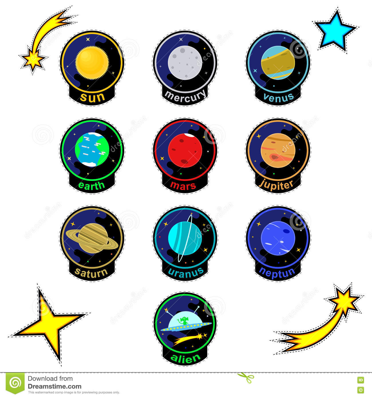 patch badges with planets of solar system stars comets and alien