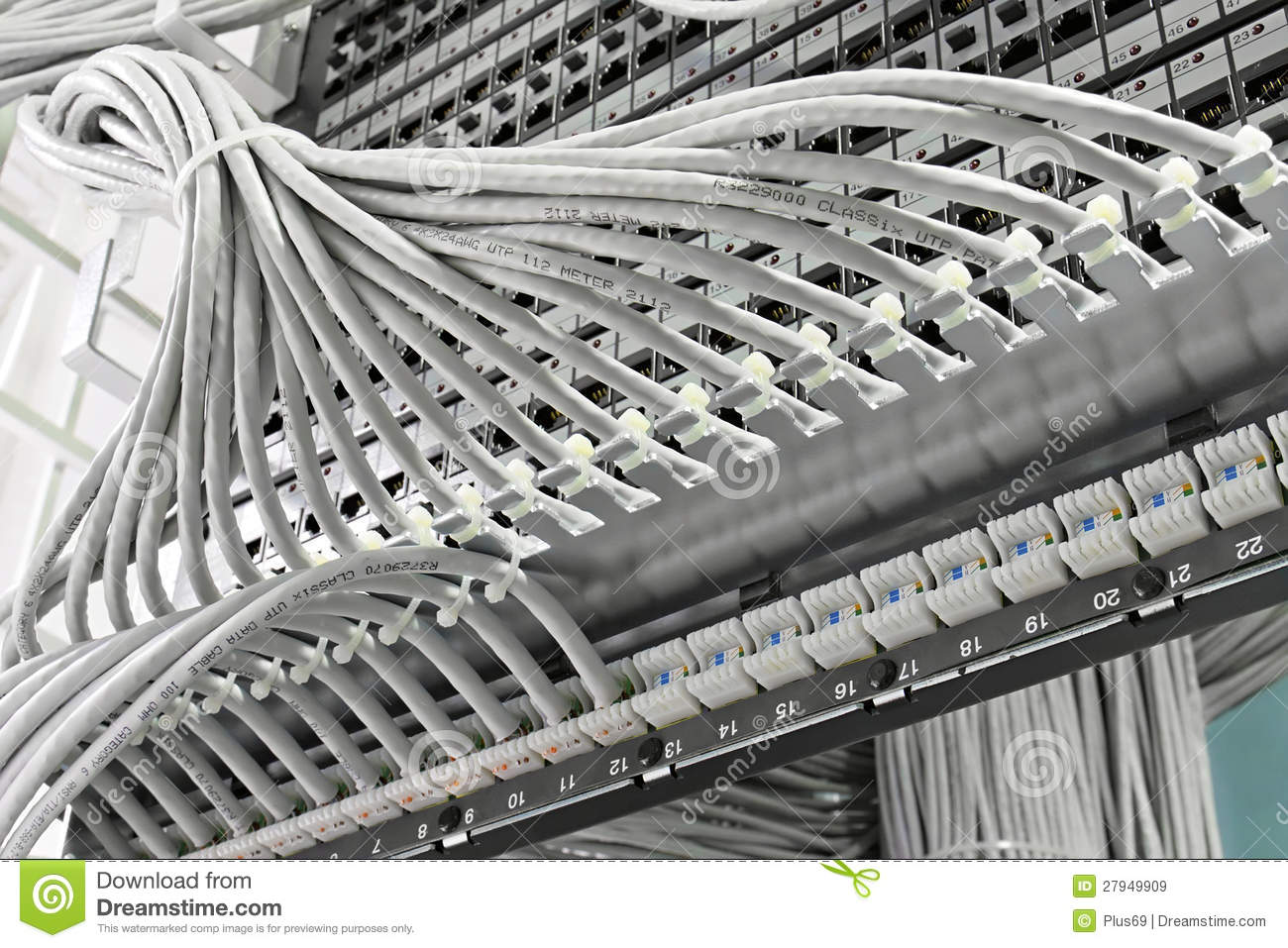 Patch Panel Of The 6th Category Stock Image Hardware Wiring A Kind Closet Panels With 6 Th In Background