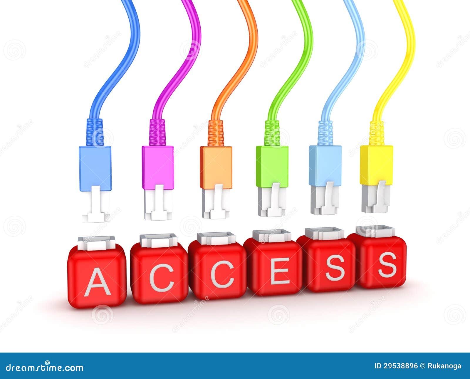 Patchcords e acesso de palavra coloridos.