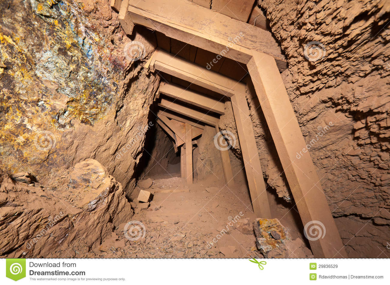 timbered mine tunnel stock image image of passage rock