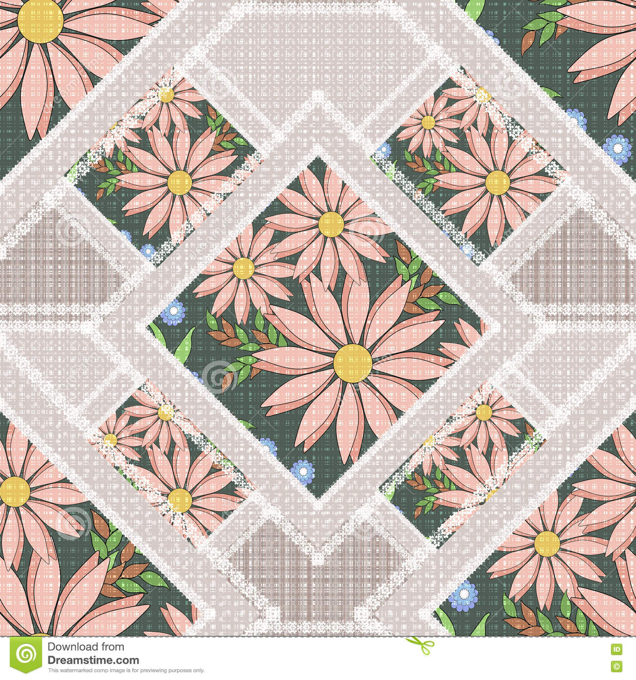 Abstract Flower Background With Decoration Elements For: Patchwork Abstract Seamless Floral, Pattern Texture Light