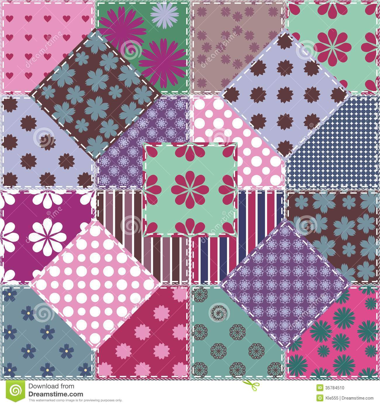 Patchwork Background With Different Patterns Stock