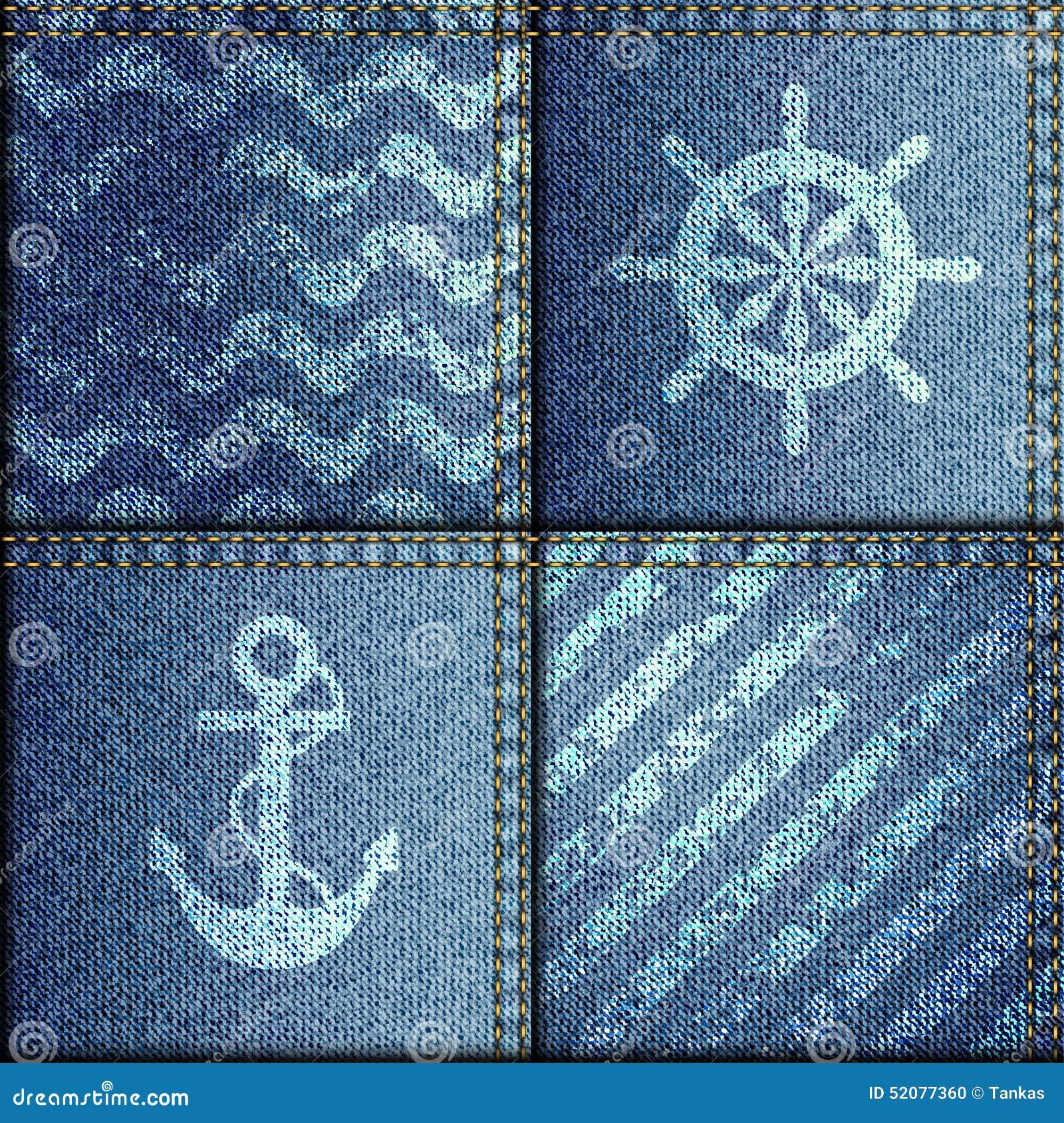 patchwork de tissu de denim dans le style marin illustration de vecteur image 52077360. Black Bedroom Furniture Sets. Home Design Ideas