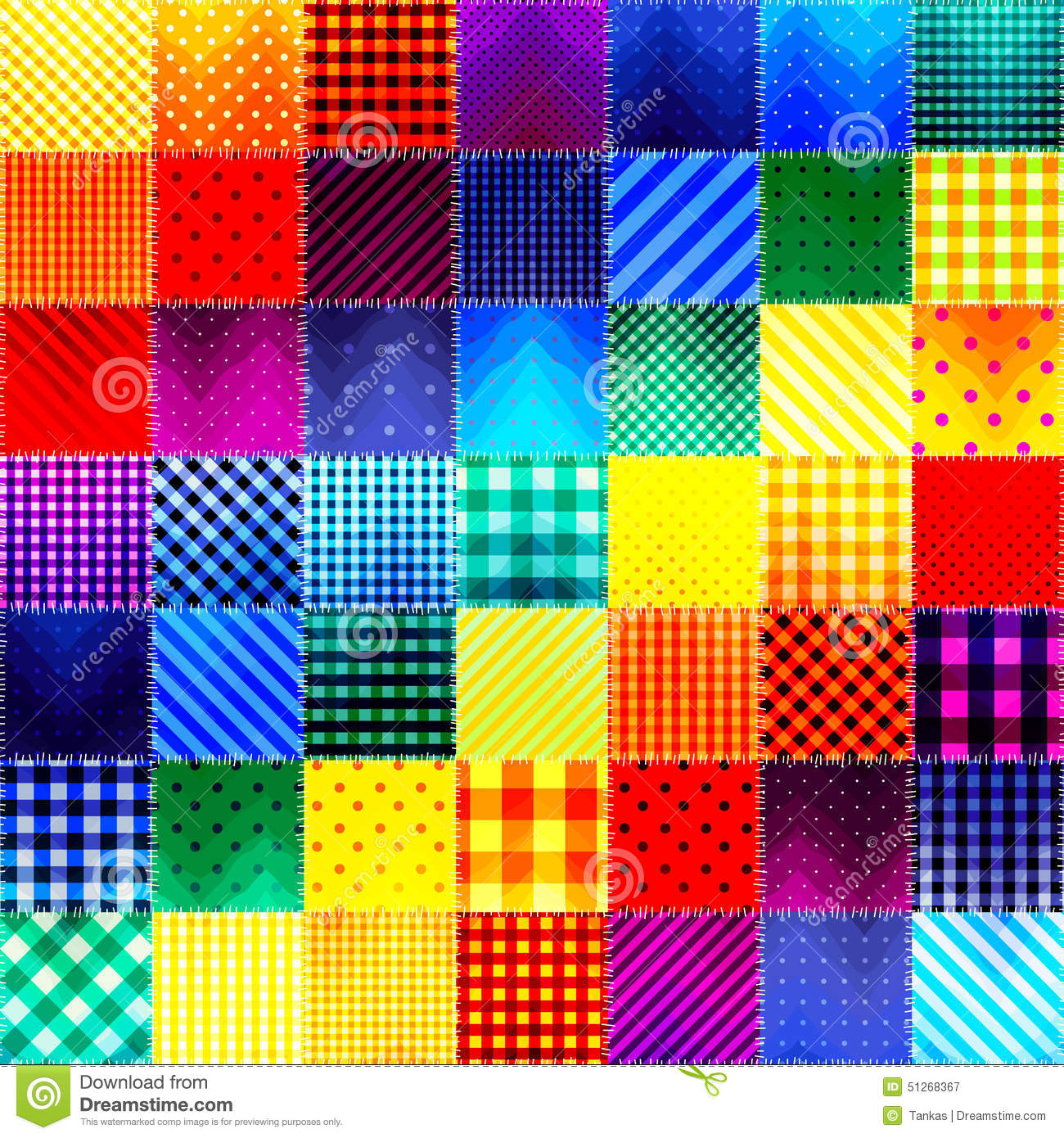 patchwork of fabric in rainbow colors stock vector image 51268367. Black Bedroom Furniture Sets. Home Design Ideas