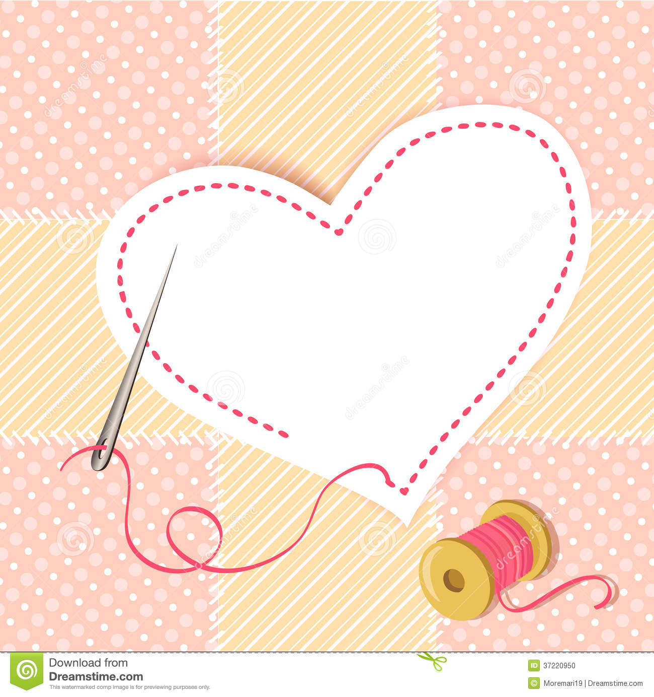 Patchwork Heart With A Needle Thread Stock Vector Image