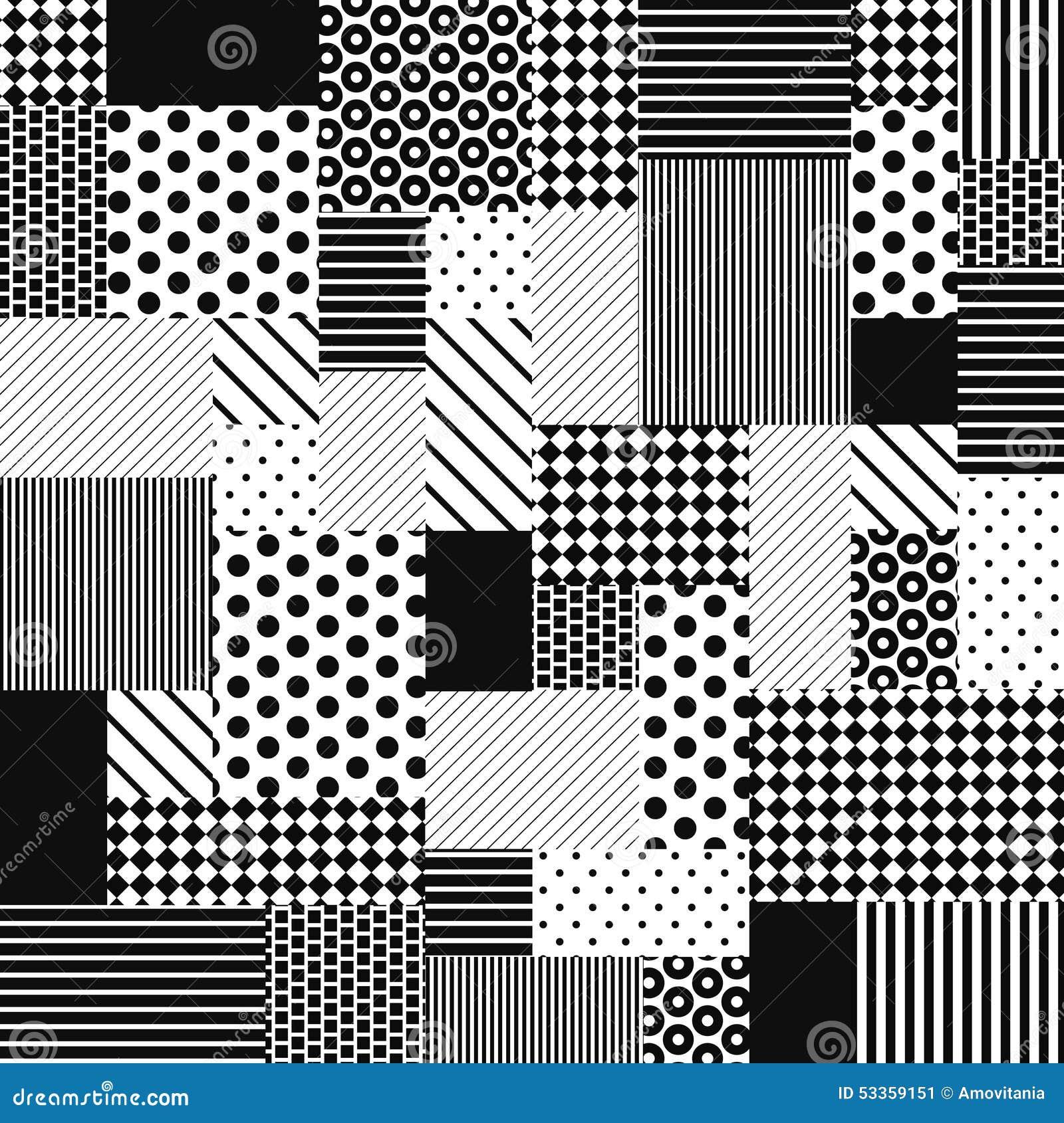 Patchwork Noir Et Blanc Abstrait Illustration De Vecteur