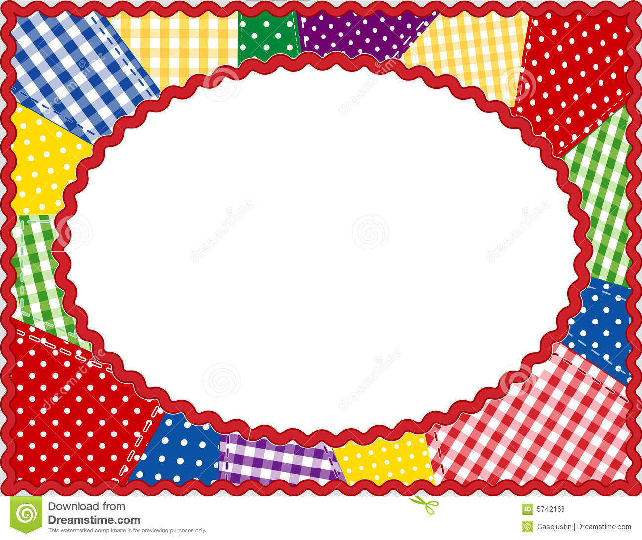 Patchwork Oval Frame Brights Royalty Free Stock Image
