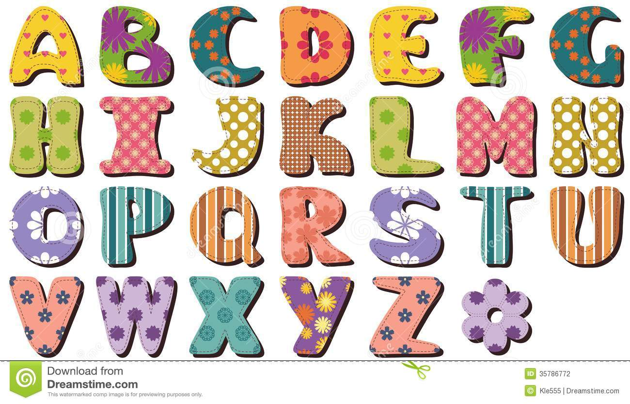Patchwork Scrapbook Alphabet Stock Illustration - Image ...