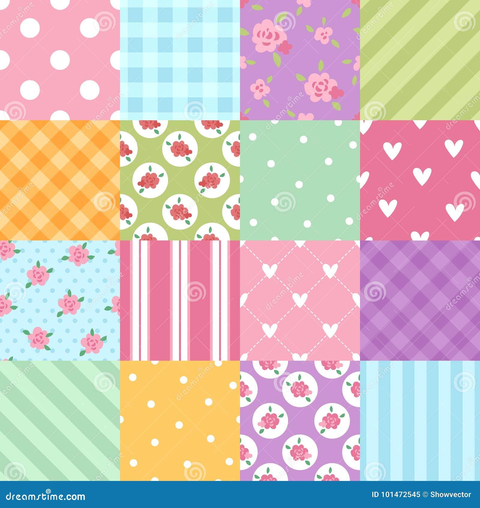 Patchwork textile texture seamless clothes pattern background tile decorative ornament design floral vector illustration
