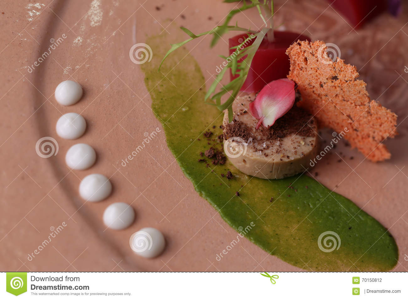 Pate With Sauce, Toast, Jelly And Arugula On A Plate ...