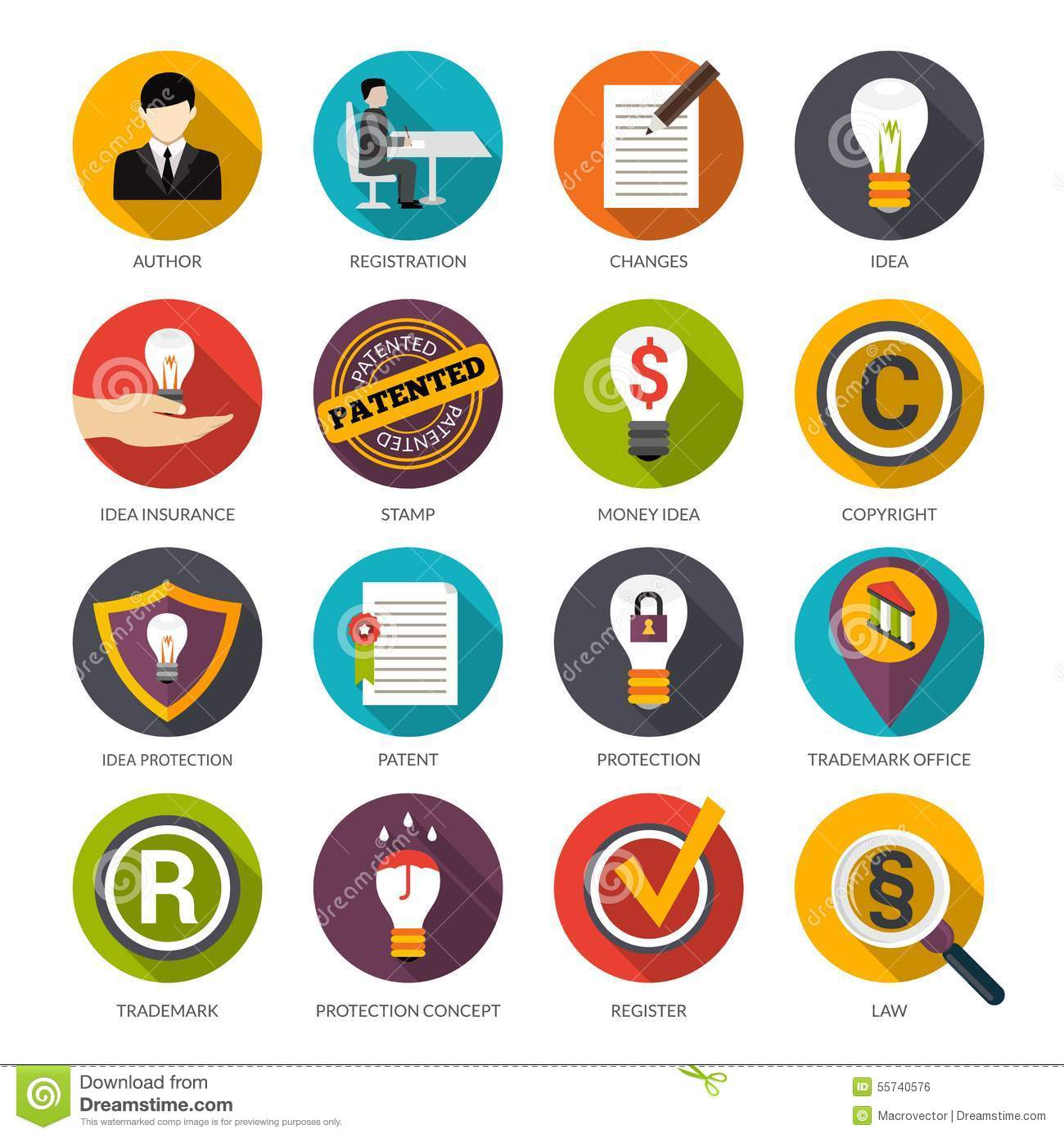 Patent Idea Protection Icons Stock Vector Illustration Of Icons