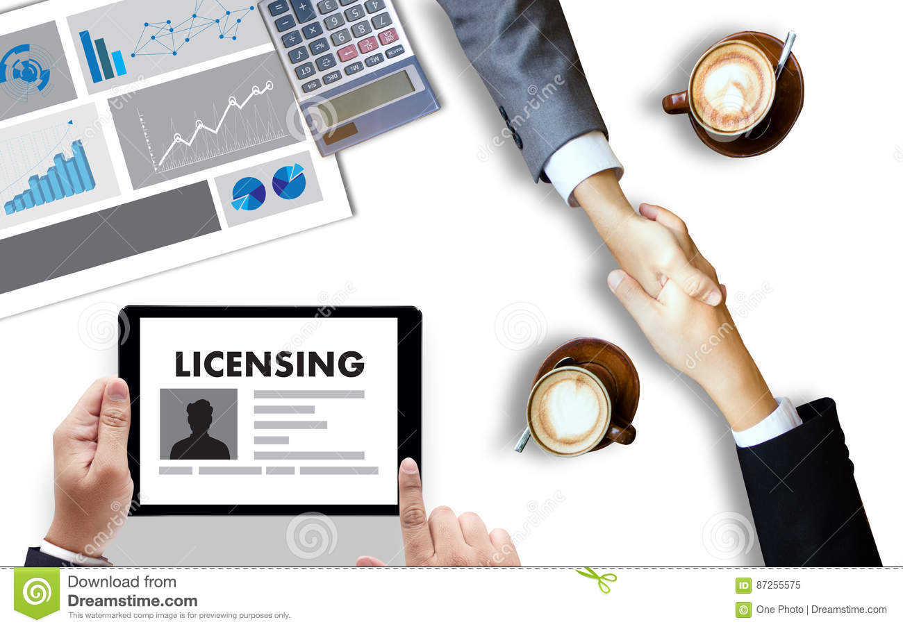 Patent License Agreement Licensing Business Man Hand Working O Stock