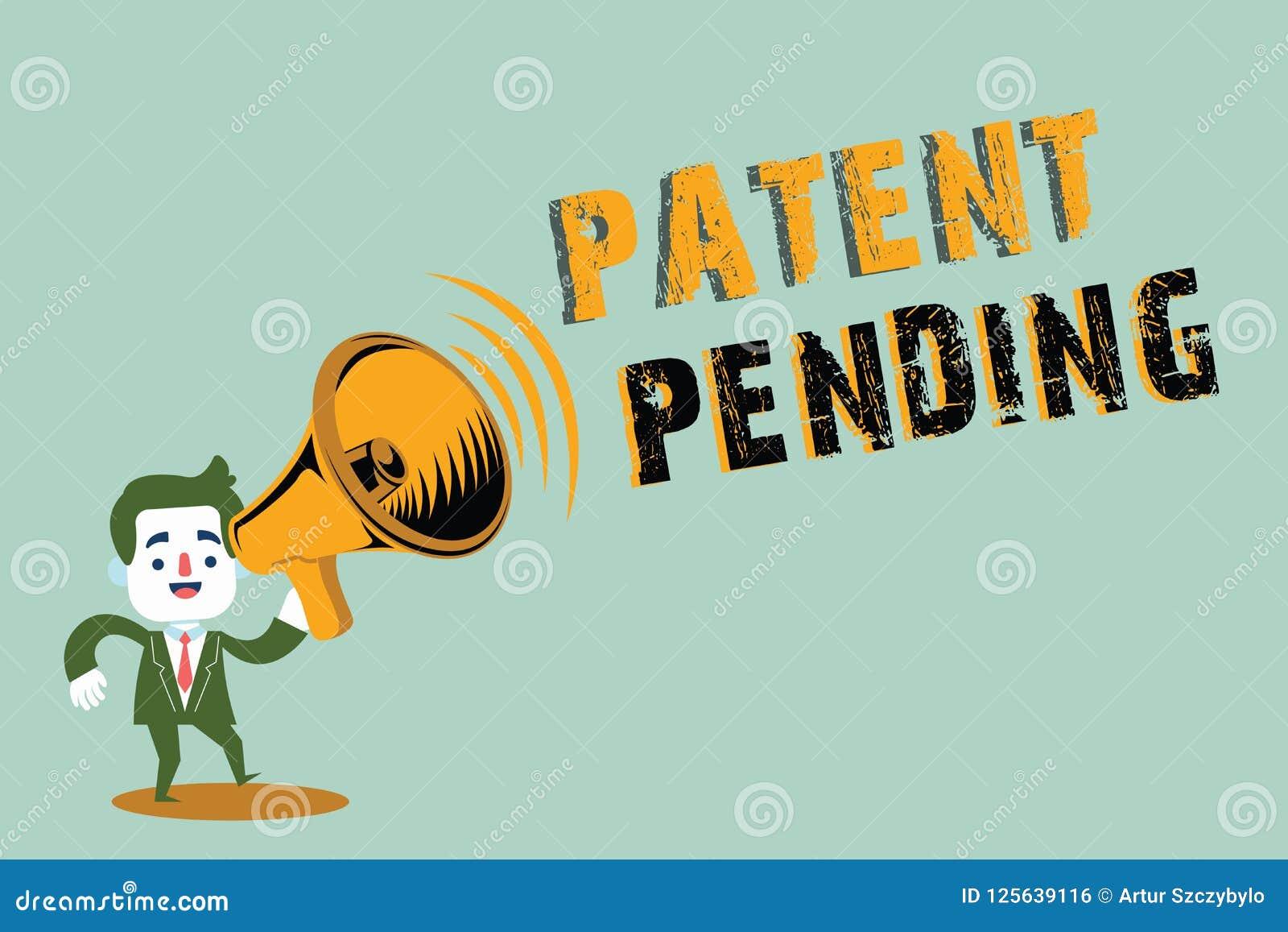 Patente de la escritura del texto de la escritura pendiente Petición del significado del concepto archivada ya pero no todavía co