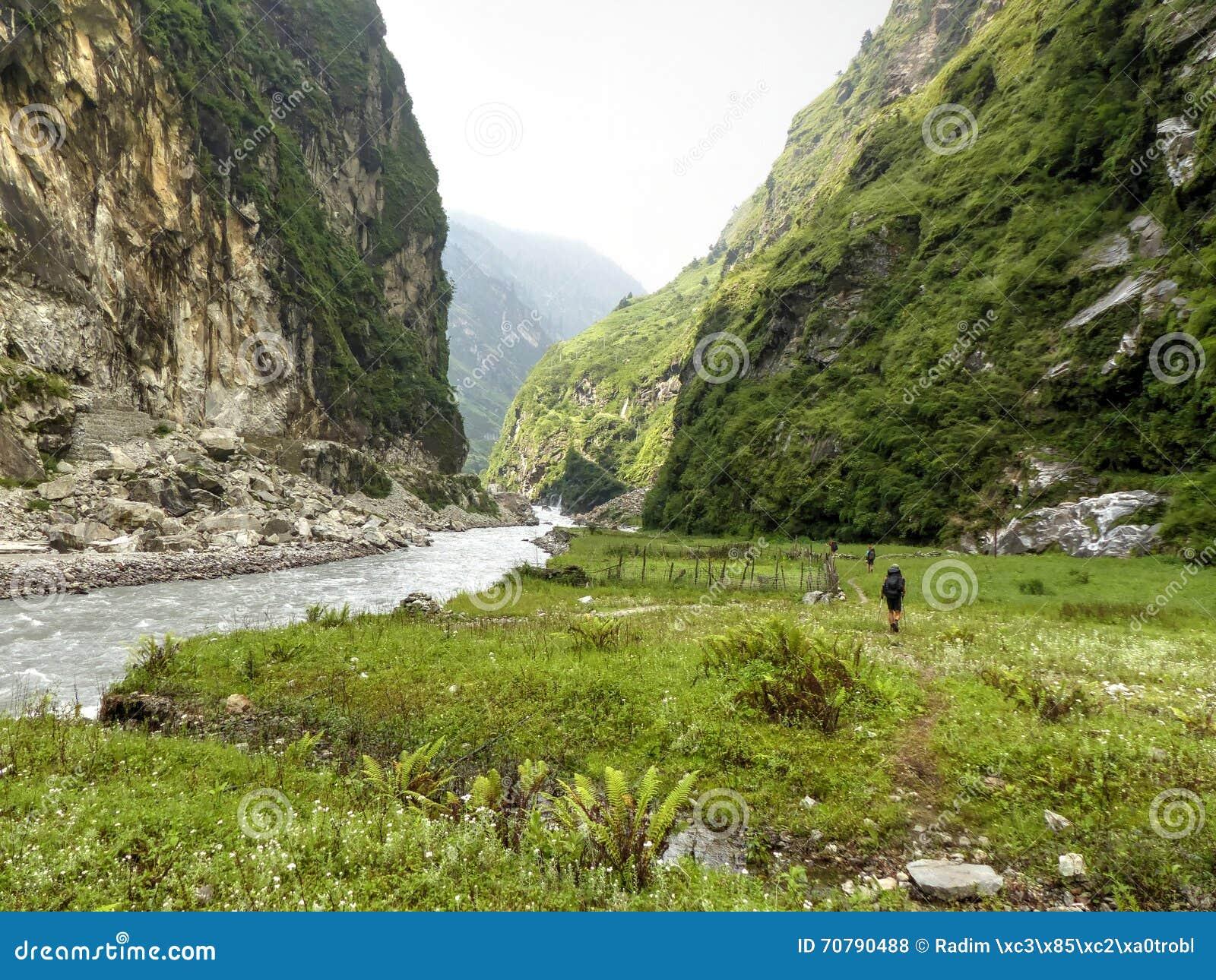 Path along a river Marsyangdi
