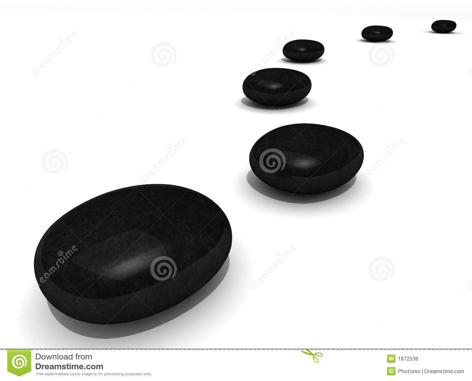 Path of black spa stones